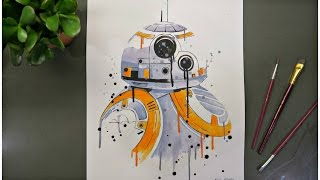 BB-8 from Star Wars | Watercolor Time Lapse