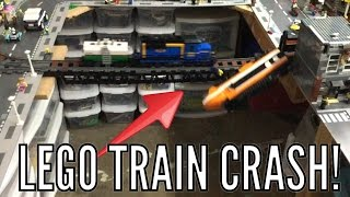 getlinkyoutube.com-Lego Train Crash On Bridge!