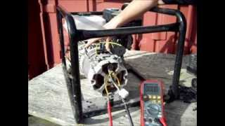 getlinkyoutube.com-Electricity Generator Brushless Alternator Testing - Generator with a capacitor.