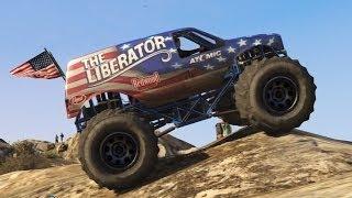 getlinkyoutube.com-GTA 5 - Off-Road 4x4 - Mountain Climbing in the Monster Truck (GTA Online DLC Liberator Up Chiliad)