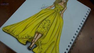 getlinkyoutube.com-how to draw fashion designs - تعليم رسم فستان باللون الاصفر