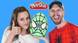 getlinkyoutube.com-MEGA Surprise Egg Play Doh Spider-Man ★ TMNT Kinder LEGO Barbie Batman Superhero Eggs