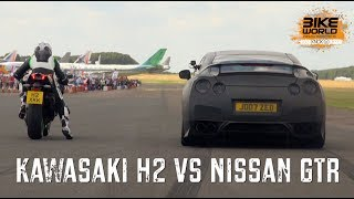 getlinkyoutube.com-Kawasaki H2 vs Nissan GTR Drag Race