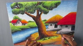 getlinkyoutube.com-How to Draw a Village landscape with Oil Pastel | Episode-16
