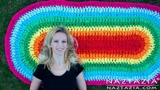 DIY Tutorial - How to Crochet Oval Rag Rug Floor Carpet from Fabric Sheets width=