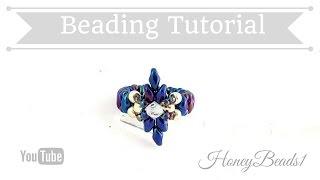 getlinkyoutube.com-Dear Diamond Ring Beading Tutorial by HoneyBeads1 (with superduo beads)