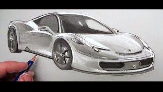 getlinkyoutube.com-How to Draw a Car: Ferrari 458