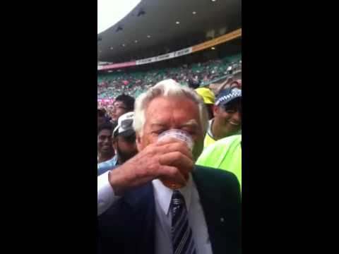 Bob Hawke skulls a beer at the SCG Australia vs India Jan 4 2012- 1 for the country
