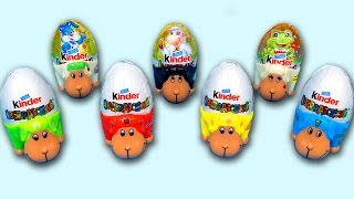 7 Surprise Eggs Easter Lambs Kinder Surprise Bunnies Sheeps Frogs Easter Edition Egg