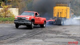 getlinkyoutube.com-Semi vs Dually Tug O War Daisy Dukes Truck Show