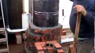 getlinkyoutube.com-Rocket Mass Stove Heater. Construction and lighting technique tip.