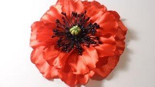 getlinkyoutube.com-Мак из атласных лент, Уроки Канзаши для Начинающих / DIY Poppy flower