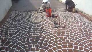 getlinkyoutube.com-Concrete Overlay Made With European Fan Stencil Design. Beautiful and durable.