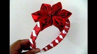 getlinkyoutube.com-Flores rojas en diademas trenzadas con relieves en cintas para el cabello