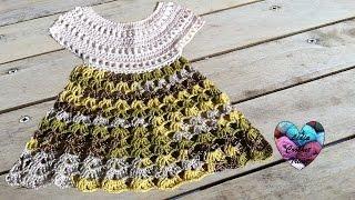 getlinkyoutube.com-Robe bébé crochet 1/2 / Baby dress crochet 1/2 (english subtitles)