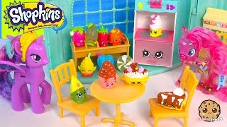 getlinkyoutube.com-MLP Twilight Sparkle, Pinkie Pie Shopkins Collector Card Match Game at Ice Cream Shop Toy Video