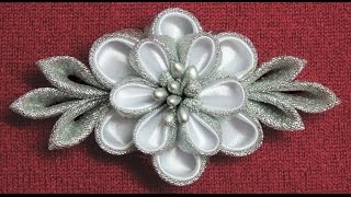 getlinkyoutube.com-DIY kanzashi flower hairclip,Winter inspired kanzashi,Wedding accessoire