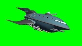 getlinkyoutube.com-Futurama Spaceship Anarchania Express fly by - free green screen