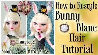 getlinkyoutube.com-How to Restyle Bunny Blanc Doll Hair Tutorial | Ever After High - BOIL WASH
