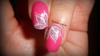 getlinkyoutube.com-Elegant & simple Glitter Flowers - tutorial nail art fiori glitterati semplici ed eleganti