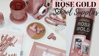 10 DIY ROSE GOLD SCHOOL SUPPLIES IDEAS - Easy & Affordable!