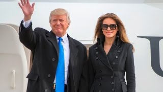 getlinkyoutube.com-President-Elect Donald Trump & Melania Trump Land At Joint Base Andrews Ahead Of Inauguration