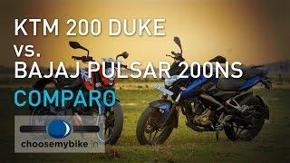 getlinkyoutube.com-KTM 200 Duke Vs Bajaj Pulsar 200 NS : ChooseMyBike.in Review