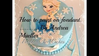 getlinkyoutube.com-How to paint an edible picture on fondant (Elsa from FROZEN)