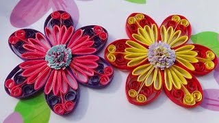 getlinkyoutube.com-Quilling Made Easy # How to make Beautiful flower using - Paper Art Quilling