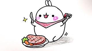 How to draw Bunny Molang from Korea 몰랑 몰랑이 그리기 cute kawaii かわいい 可愛 손그림 귀여운 예쁜 그림 그리는 법
