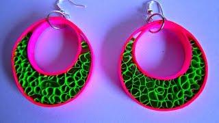 getlinkyoutube.com-PAPER EARRINGS - Latest Fancy Home made Earrings Making Tutorial.
