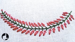 getlinkyoutube.com-Beautiful Embroidery Pattern for Collars, Baby pillow cases etc... | HandiWorks #35