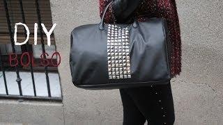 getlinkyoutube.com-DIY Cómo hacer maxi bolso de cuero y tachuelas