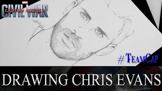 getlinkyoutube.com-SPEED DRAWING - Chris Evans/ Captain America - CIVIL WAR  #TeamCap
