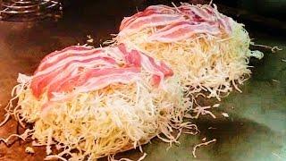 getlinkyoutube.com-【デカ盛り店】広島風お好み焼きの作り方・レシピ【巨大料理】