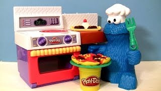 getlinkyoutube.com-PLAY DOH Chef Cookie Monster Eats Letter Lunch Pizza From Play-Doh Meal Making Kitchen Baking Toy