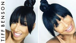 TOP KNOT WITH FAUX BANGS   4 EASY STEPS HAIR TUTORIAL   VANITY BOX HAIR