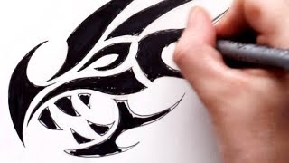 getlinkyoutube.com-Sketching Out a Dragon Head - Turned Into a Tribal Tattoo Design
