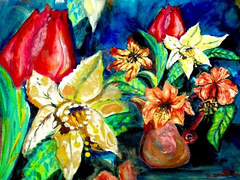 How to paint Tulip Orchids Flowers arrangement Acrylic as Watercolor Impressionist By Rami Benatar