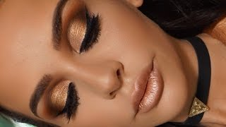 getlinkyoutube.com-GOLDEN METALLIC MAKEUP TUTORIAL | Carli Bybel