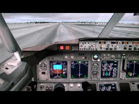 Flight Simulator X FSX HD - Manual Landing Boeing 737-800 in snowy whether (cockpit view)