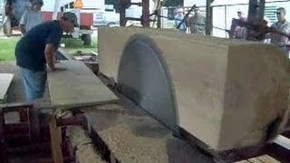 getlinkyoutube.com-Steam Powered 1800s Circular Sawmill cutting 22 inch wide Oak Boards from the Sawyers Perspective.