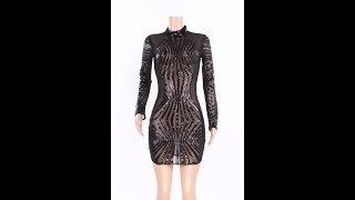 Anne recommend: Black Sequined Long-Sleeves See Through Backless Sexy Club Dress Wholesale Dresses
