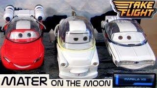 getlinkyoutube.com-Cars Toon Mater on the Moon Impala 13, Autonaut Lightning McQueen Disney Diecast Astronaut Mater