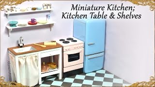 getlinkyoutube.com-Miniature Doll  Kitchen Table w/ Sink & Shelves - Wood & Polymer Clay Tutorial