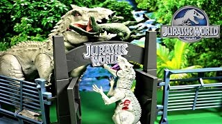 getlinkyoutube.com-New Indominus Rex Bashers & Biters Jurassic World Vs Velociraptors (unboxing, review) By WD Toys