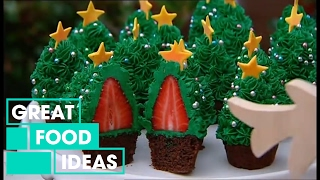 getlinkyoutube.com-Better Homes and Gardens - Fast Ed: Strawberry Christmas tree cupcakes
