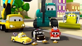 Construction Squad: the Dump Truck, the Crane and the Excavator build The waffle factory in Car City