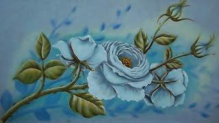 getlinkyoutube.com-Como Pintar Rosas Brancas / Pintura em Tecido