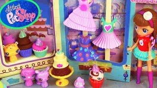 getlinkyoutube.com-LPS Sweetest Sugar Chic Shoppe Playdoh Cupcakes Chocolate Cake Playset Littlest Pet Shop Food